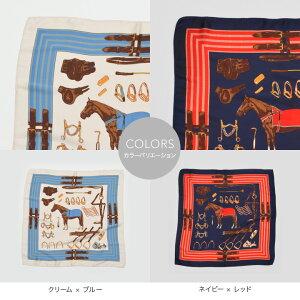 ホース&サドリー(馬具)柄プチスカーフ【52×52】