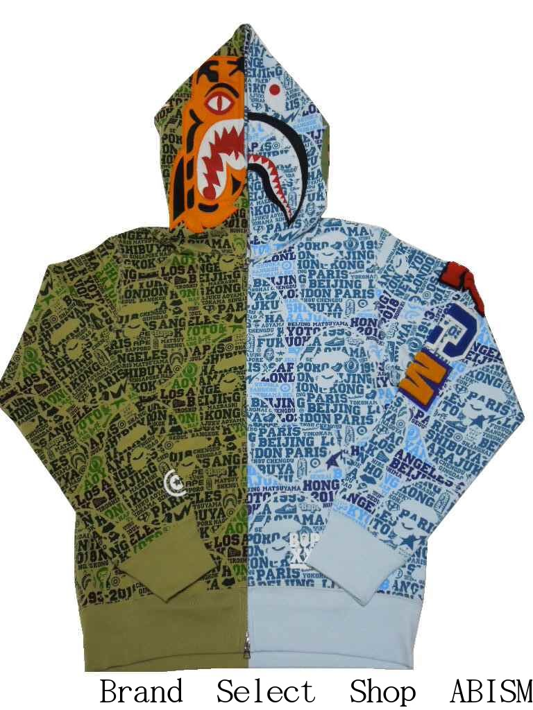 トップス, パーカー A BATHING APE()BAPE XXV CITIES CAMO TIGER SHARK HALF FULL ZIP HOODIE xMENSBAPE()