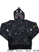 【代引き不可】ABATHINGAPE(エイプ)SPACECAMOSHARKFULLZIPHOODIEシャークフルジップパーカー【ブラック】【日本製】【新品】BAPE(ベイプ)