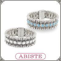 あす楽♪ABISTE(アビステ)マグネット式ビジューシルバーバングル/ホワイト、ターコイズ4150216