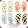 ABISTE(アビステ) ストライプメタルイヤリング/ホワイト、オレンジ、ブルー、ブラック 3401021 レディース 女性 人気 上品 大人 かわいい おしゃれ アクセサリー ブランド 誕生日 ギフト プレゼント ラッピング無料