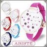 ABISTE(アビステ) デザインフェイスシリコンラバー腕時計/ホワイト、ピンク、レッド、パープル、Lブルー、Dブルー 9150071 レディース 女性 人気 大人 かわいい おしゃれ ポップ アナログ 3針 ブランド 誕生日 ギフト プレゼント ウォッチ