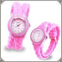 ABISTE(アビステ)シリコンラバーブレスレット時計/ホワイト、ピンク、グレー9400029