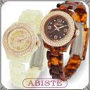 ABISTE(アビステ) ラウンドフェイス時計/ホワイト、ベッコウ 9400054 レディース 女性 人気 上品 大人 かわいい おしゃれ アクセサリー ブランド 誕生日 ギフト プレゼント ラッピング無料 腕時計 ウォッチ 母の日 母の日ギフト