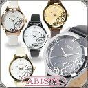 ABISTE(アビステ) フラワー柄ラウンドフェイスベルト時計/ホワイト、アイボリー、ブラウン、ブラックホワイト、ブラック レディース 女性 人気 上品 大人 かわいい おしゃれ アクセサリー ブランド 誕生日 ギフト プレゼント 腕時計 ウォッチ