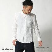 【Audience/オーディエンス】デラヴェリネンワイドスプレッドカラー長袖シャツ/ボタンダウンシャツ/麻シャツ/麻100%/無地/リネン/AUD1639◆4180【XLサイズ】【Sサイズ】