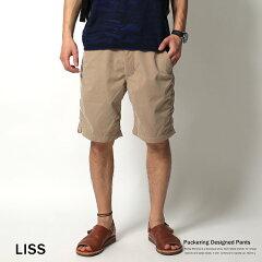 ショートパンツ メンズ ハーフパンツ 無地 短パン パッカリング 撥水 夏フェス 清涼 LISS 【あす楽】4455
