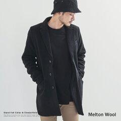ステンカラーコート メンズ ピーコート メルトン ウール シングル コート チェスター Pコー…