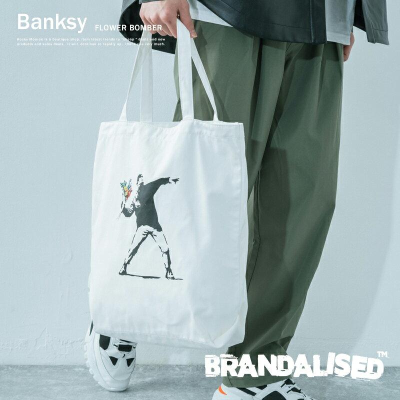 男女兼用バッグ, トートバッグ  Banksy A4 FLOWER BOMBER BRANDALISED 911009 9840