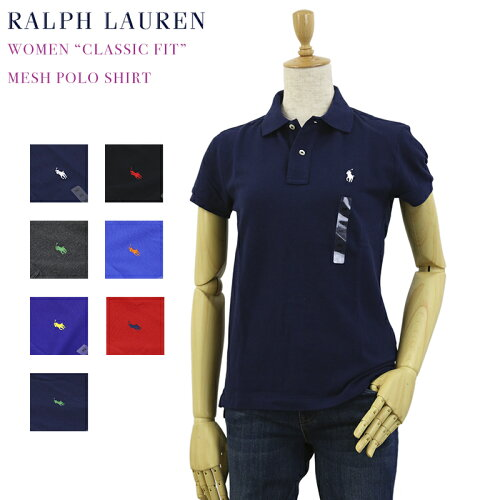 "(WOMEN) Polo by Ralph Lauren ""CLASSIC FIT"" Solid Color Mesh Polo Shirt USポロ ラルフローレン..."