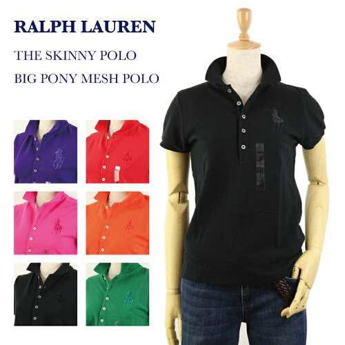 "Ralph Lauren Lady's ""SKINNY FIT"" BIG PONY Solid Color Mesh Polo Shirts USラルフローレン レデ..."