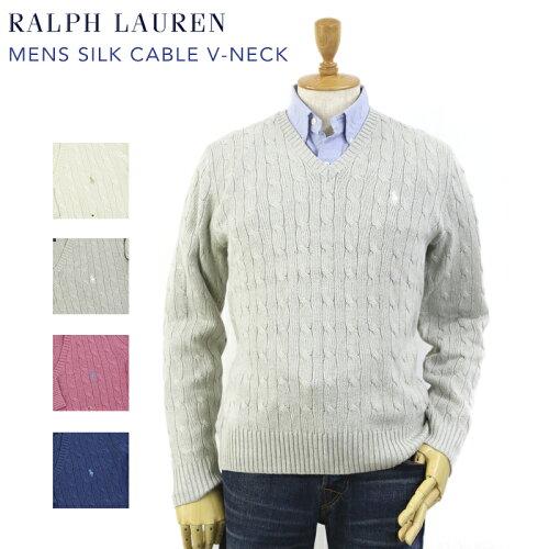 Ralph Lauren Men's Silk Cable V-Neck Sweater US ポロ ラルフローレン シルクのVネックセーター