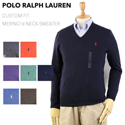 """Ralph Lauren Men's """"MERINO WOOL"""" CUSTOM FIT V-neck Sweater US ポロ ラルフローレン Vネック メ..."""
