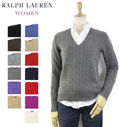 Ralph Lauren Women's Merino Cable Sweater USラルフローレン レディース メリノウール Vネック ...