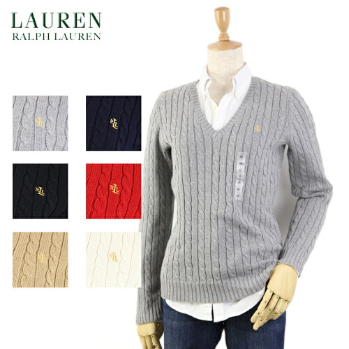 Ralph Lauren LAUREN Women's Cotton Cable V-Neck Sweater USラルフローレン レディース Vネック ...