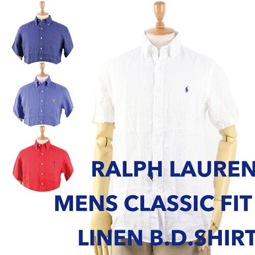 "Ralph Lauren Men's ""CLASSIC FIT"" s/s Linen Shirts US ポロ ラルフローレン メンズ リネン 半袖..."