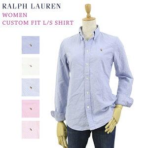 "Women Ralph Lauren ""CUSTOM FIT"" Oxford L/S Shirt ラルフローレン USレディース 長袖シャツ ワンポイント ブラウス オックスフォード 長袖シャツ"