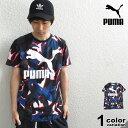 PUMA プーマ 半袖 Tシャツ CLASSICS ロゴ Tシャツ (puma tシャツ ホワイト 総柄 579037 2019年 新作) 【あす楽対応】 【メール便可】