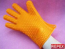 今話題の【5本指クッキンググローブ】オレンジ・1枚価格・掴みやすい手形形状・男女兼用・左右対称・220℃のお湯も大丈夫です☆