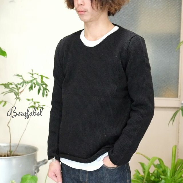 トップス, ニット・セーター Bergfabel() Crew Neck PO Hand Made Knit -BLACK-