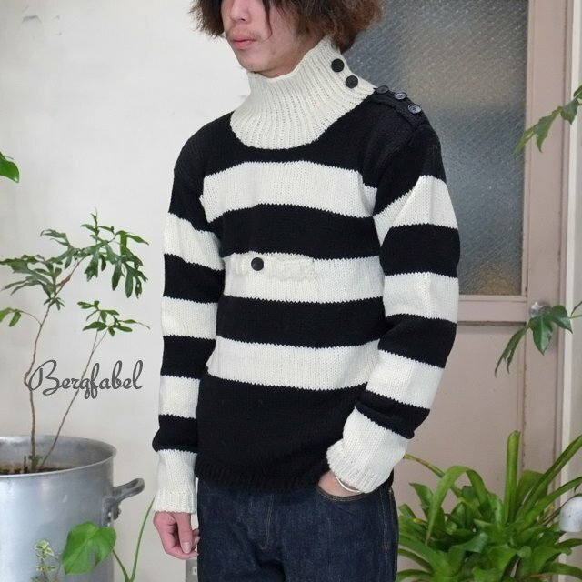 トップス, ニット・セーター Bergfabel() Turtle Neck PO Hand Made Knit -BLACKWHITE-