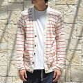 FRANKLEDER(�ե�󥯥꡼����)/StripedLinenJerseyCardigan-(90/75)WHITE/RED-