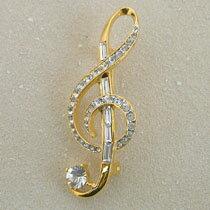 クリスタルミニチュア楽器ブローチ ト音記号 スワロフスキークリスタル ゴールド&シルバー2トーンカラー