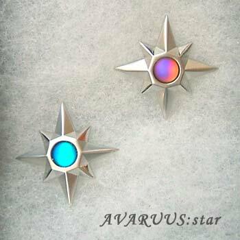 タックブローチ star シンフォニーガラス ブルーオパール/パープルオパール