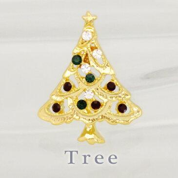 ピンブローチ キラキラゴールドクリスマスツリー クリスマス/クリスマスグッズ/プレゼント/ピンブローチ/ピンバッジ/タックピン/ブローチピン