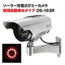ダミーカメラ 防犯 ダミー 防犯カメラ 監視カメラ 屋外 防雨 赤外線 ソーラパネル ダミーカメラ フェイクカメラ DAM008-OS-163R