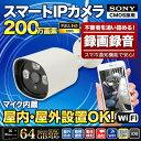 防犯カメラ ワイヤレス 屋外 ネットワークカメラ 200万画素 無線 Wi-Fi IPカメラ 屋外防雨 録音 SIP-BU2