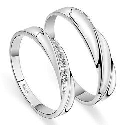 曲線美ペアリング純銀シルバー925指輪女性用には上質クリスタルラウンドシングルカットVカットストーンリングラグジュアリーラブリングプレゼントに送料無料