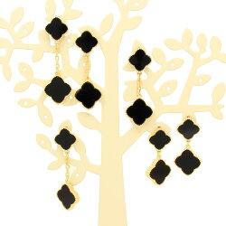 楽天スーパーSALE9月ミル黄金花2連イヤリング2花ロングイヤリング黒オニキスカラーレディースフラワーモチーフブラッククローバー3カラーブランドトラベルジュエリー