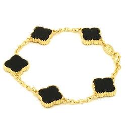 ミル黄金花ブレスレットクローバー5花オニキスカラー両面黒レディースフラワーモチーフ3カラーチェーンブラックブランドトラベルジュエリー