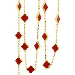 半額ミル黄金花ロングネックレスクローバー20花両面赤レディースロングネックレスフラワーモチーフ3カラーチェーンレッドブランドトラベルジュエリーピンクゴールド追加