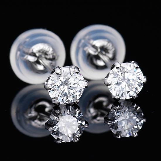ダイヤピアス Dカラーシリーズ Pt900 ダイヤモンド Dカラー 0.3ctup 6本爪ピアス/送料無料【あす楽対応】:アクセサリーマート