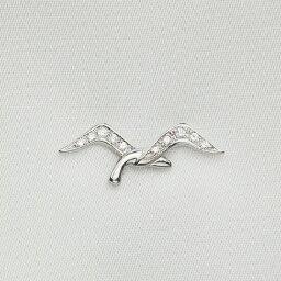 【ポイント10倍】18金 ピンズ ラペルピン メンズ K18 ホワイトゴールド ダイヤモンド カモメモチーフ スーツ おしゃれ 人気 ピンブローチ メンズブローチ 日本製 刻印入り