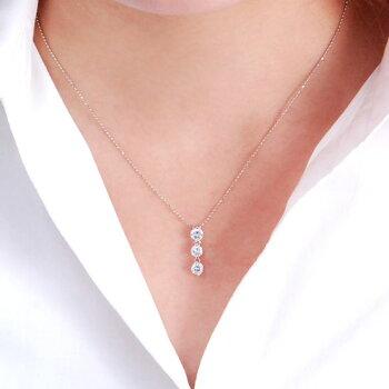 最高峰Dカラー1カラットPtダイヤモンドトリロジー(スリーストーン)ネックレス/送料無料【smtb-k】【w2】