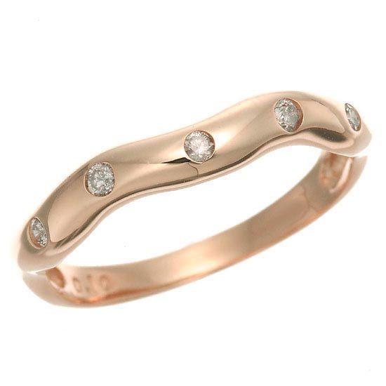 K18PG ピンクゴールド ダイヤモンドドット 水玉 ウエーブリング 指輪 4月誕生石/送料無料