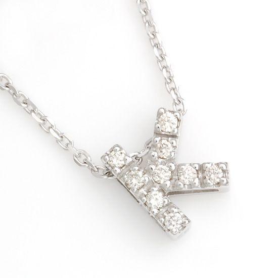 K10WG ダイヤモンドイニシャル アルファベット ネックレス K201007K/送料無料
