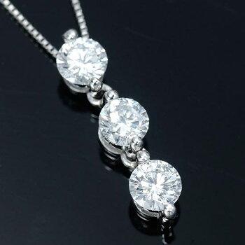 究極Dカラー0.55カラットupPtダイヤモンドトリロジー(スリーストーン)ネックレス