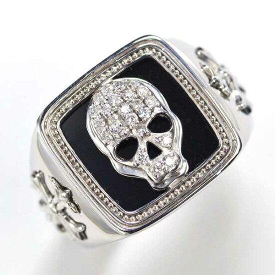 K18WG ダイヤモンド オニキス メンズリング ドクロ 指輪/送料無料