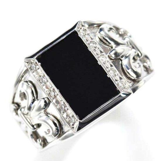 K18WG ダイヤモンド オニキス メンズリング 指輪/送料無料