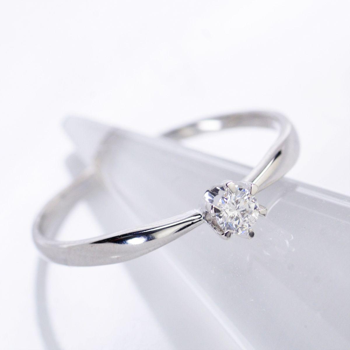 K18WGホワイトゴールド ダイヤモンド ソリティア リング
