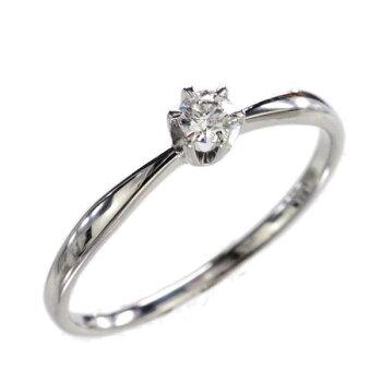 K18WGダイヤモンド一粒リング