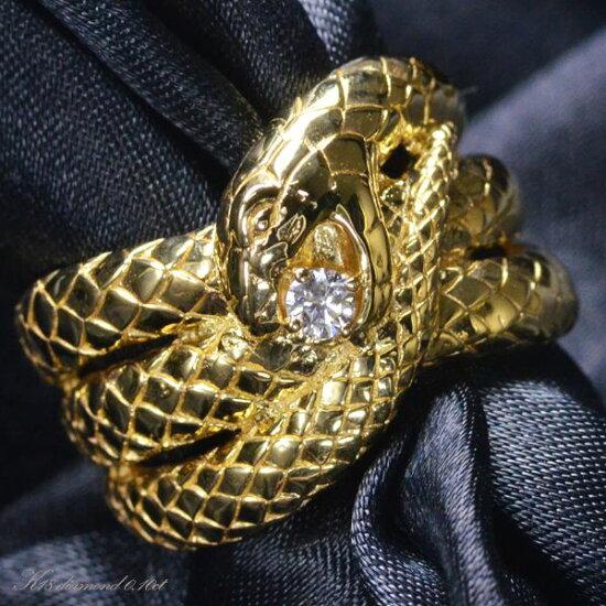 K18 ダイヤモンド メンズ リング 蛇/送料無料