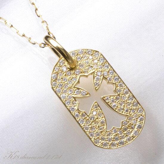 K18 メンズ ダイヤモンド ネックレス/送料無料