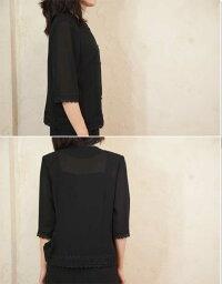 サマーブラックフォーマル夏用裾レースブラウス日本製8160単品