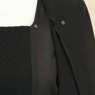サマーブラックフォーマル アンサンブル風 ワンピース 七分袖シースルー 夏用  日本製【RCP】
