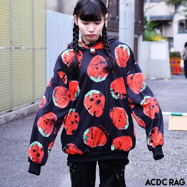 イチゴBIGパーカー   パンク ロック ファッション V系 病みかわいい 原宿 原宿系 ファッション レディース パーカー 長袖 薄手 病みかわ 病み オーバーサイズ 大きいサイズ メンズ ライブ衣装 派手 カワ かわいい 個性的 総柄 ストロベリー 赤 黒 ACDC RAG